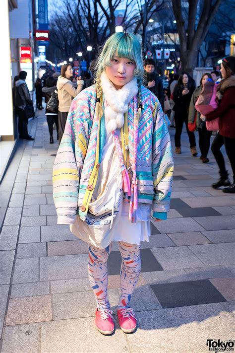Green Hair Oversized Pastel Coat And Pamela Mann Tights In