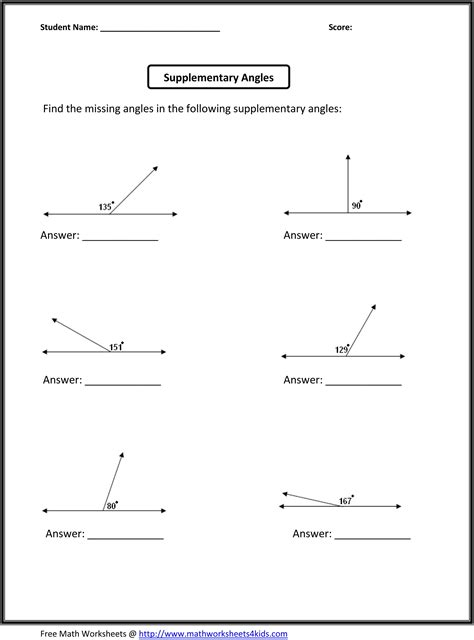 supplementary angles classroom madness pinterest math worksheets math and worksheets