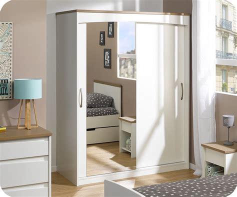 armoires chambres armoire enfant island blanche 2 portes avec miroir