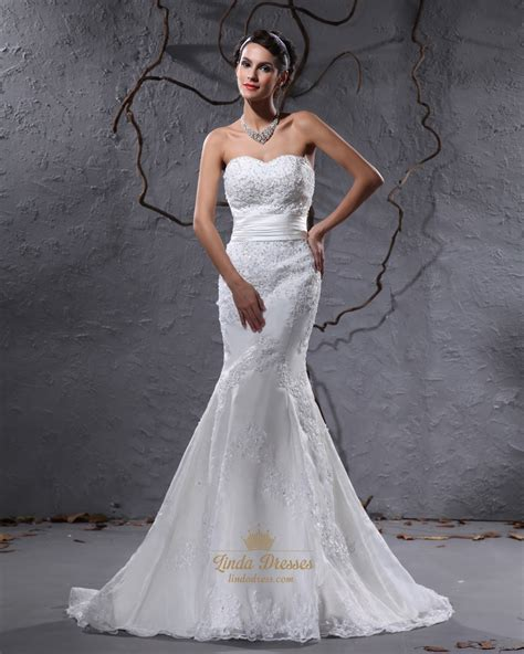 lace applique ivory strapless sweetheart mermaid beaded lace applique