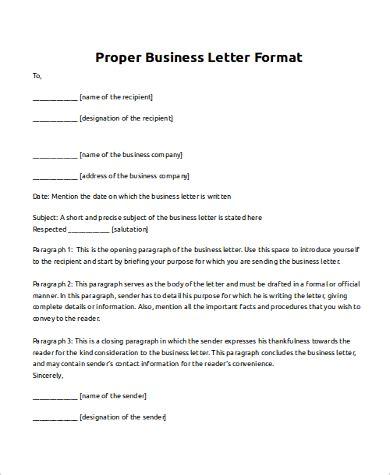 proper format for a business letter 8 business letter sles pdf doc sle templates 6994
