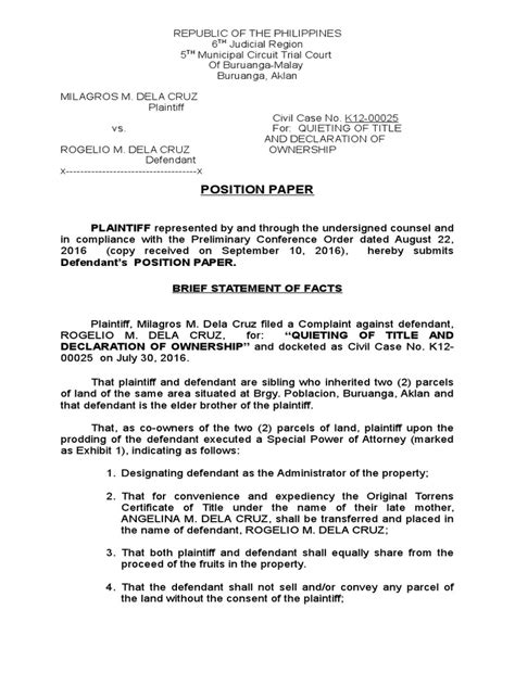 In case you have more than one. position paper sample.doc | Real Property | Lawsuit