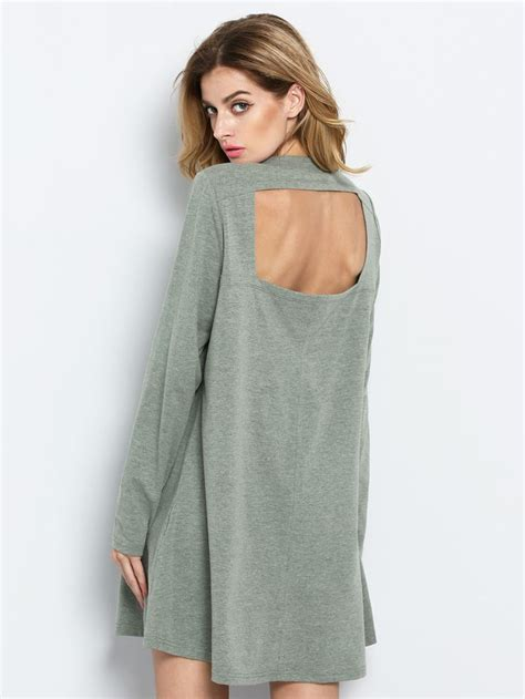 Green Long Sleeve Backless Casual Dress Maxi Skirts