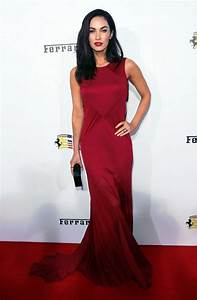 Megan Fox is sultry in a red Versace dress at Ferrari's ...