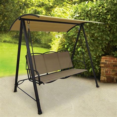 canapé swing outdoor patio sling swing canopy 3 person garden deck