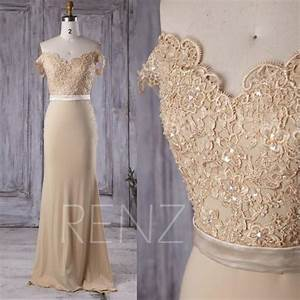 2016 beige chiffon bridesmaid dress long v neck lace With beige lace wedding dress