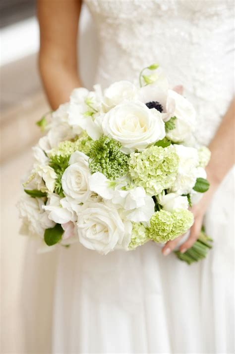 White And Green Bridal Bouquet Deer Pearl Flowers