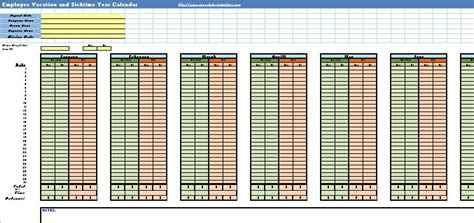 employee vacation  sick calendar spreadsheet template