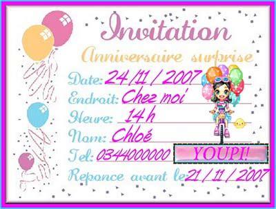 modele invitation anniversaire gratuit exemple de carte dinvitation danniversaire
