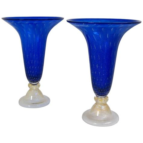 royal blue vase exquisite pair of large royal blue murano glass vases for