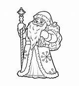 Moroz Ded Coloring Frost Boek Father Kleurend Claus Santa Illustratie Libro Colorare Padre Coloriage Livre Kleurende Kind Vader Vector Bambino sketch template