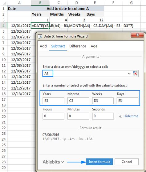 excel date function formula examples calculate