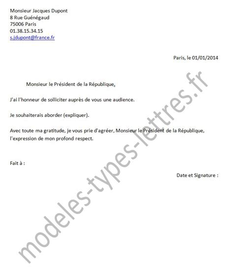 modele de lettre pour le president de la republique gratuit modele de lettre pour le president de la republique