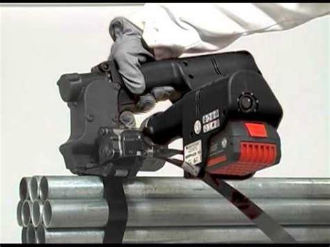 signode grippack battery operated steel strap sealer  tensioner youtube