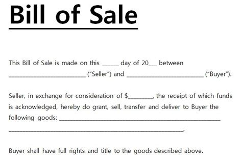 bill  sale template word  bill  sale template