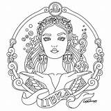 Coloring Zodiac Pages Colouring Libra Adult Signs Beauty Colors Sheets Results Drawings Drawing Print Mandala Therapy Embroidery Uploaded User Colorful sketch template