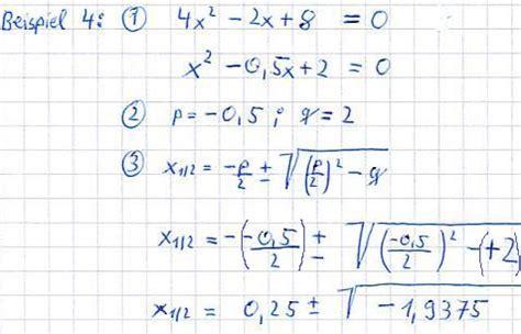 pq formel fuer quadratische gleichungen