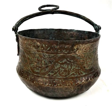vintage mid century etched solid copper pot chairish