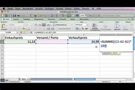 video handelsspanne berechnen mit formel  excel