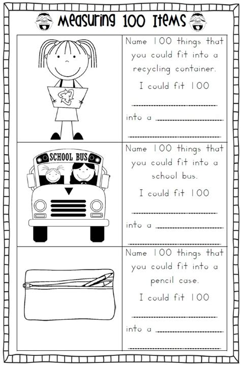 100 day math worksheets 100th day of school printables product list math
