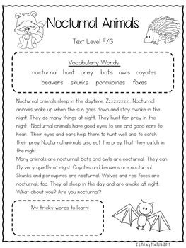 nocturnal animals ccss aligned leveled reading passages