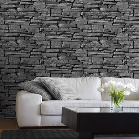 grandeco dax dry stone wall slate brick effect vinyl