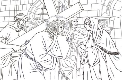 sixth station veronica wipes  face  jesus coloring