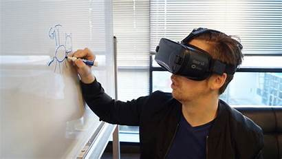 Virtual Reality Drawing Headset Wearing Holding Person
