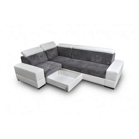 canapes d angle convertible avec tetieres relevables capre gris et blanc bi color