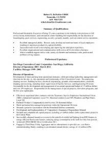 resume for housekeeping manager professional hospitality executive or housekeeper resume