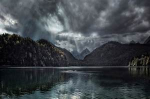 Photography, Landscape, Nature, Sun, Rays, Lake, Forest, Clouds, Mountains, Boat, Dark, Germany