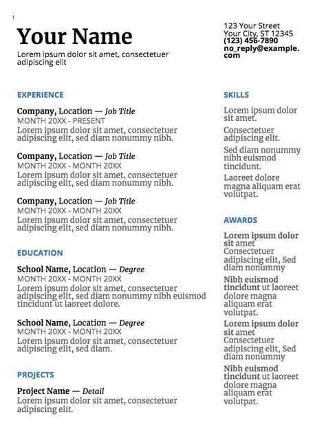 google  resume templates