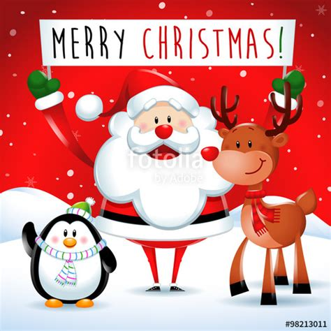 quot merry christmas santa claus and friends in background quot stock image and royalty free vector