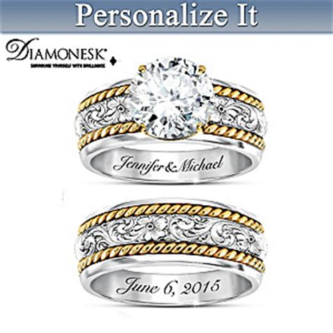 western personalized womens bridal ring