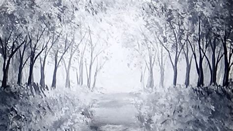 Sunlit Forest Path Acrylic Painting Black & White