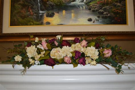mantle swags mantle swag floral swag fireplace swag wall by thebloomingwreath