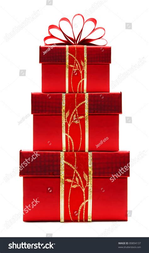 stacked red christmas gift boxes  ribbon  bow