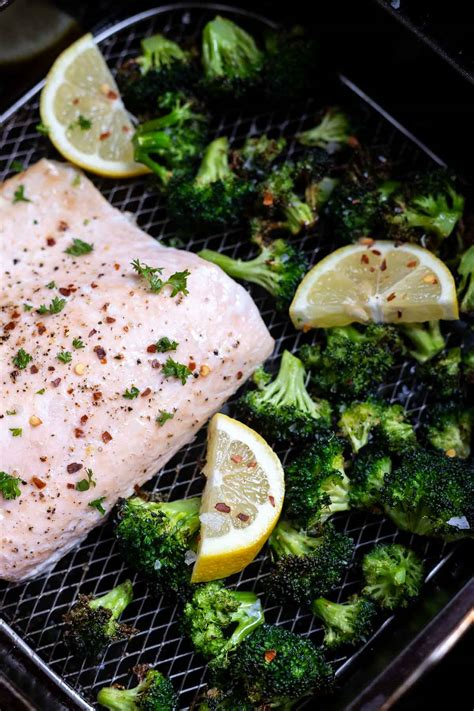 air broccoli salmon fryer fried recipe recipes cook airfryer dinner serve easy cooked