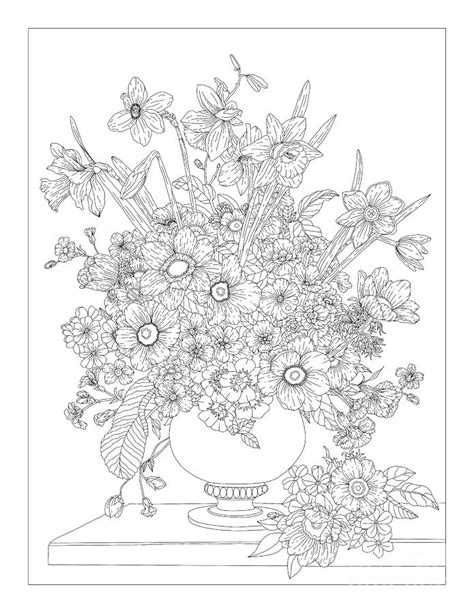 Floral Fantasy Flower Vase Coloring Page Drawing by Lisa