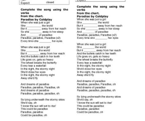 song worksheet paradise  coldplay simple