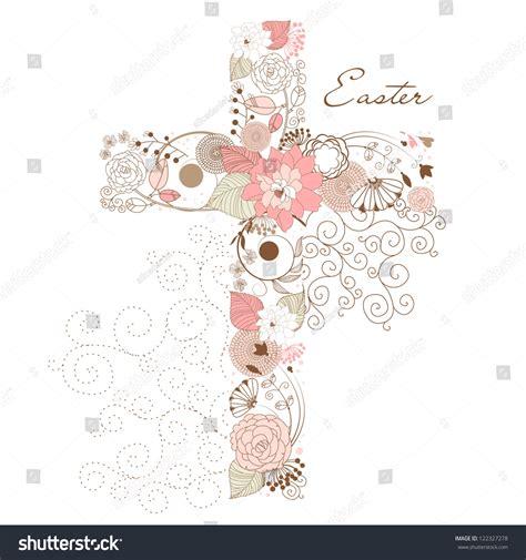 beautiful cross  flowers stock vector