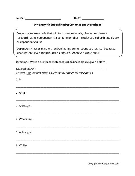 englishlinxcom conjunctions worksheets