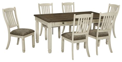 bolanburg casual antique white wood fabric 7pc dining room