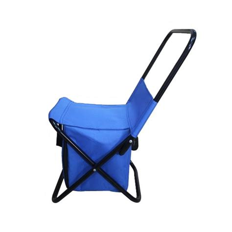portable folding chair storage with blue bag cover and