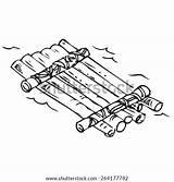 Raft Coloring Wood Doodle Template Vector Shutterstock Sketch Portfolio sketch template
