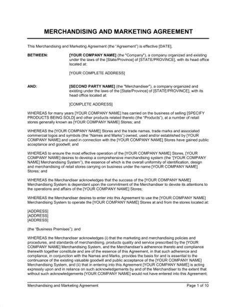 merchandising  marketing agreement template word