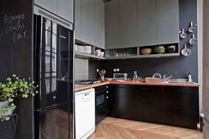 cuisine noir parquet With deco de terrasse exterieur 11 cuisine delinia noir