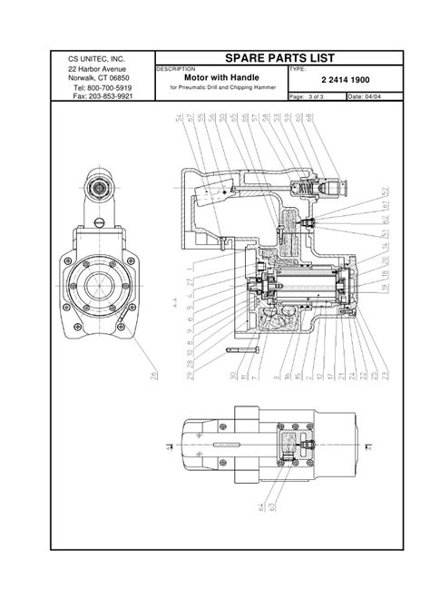 CS Unitec Pneumatic Rotary Hammer Drill Schematic: 2 2414 0010