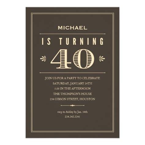40th Birthday Invitations for Men 13 Cm X 18 Cm Invitation