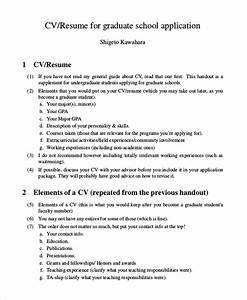 9 sample graduate school resumes sample templates With cv for graduate school application